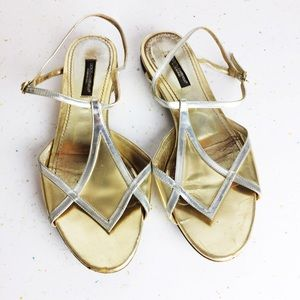 Dolce and Gabbana sandals gold silver flat D&G